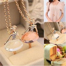 New Ladies Girls Fashion Cute Ballet Girl Pendant Choker Crystal Chain Necklace Lovely Jewelry Party(China (Mainland))