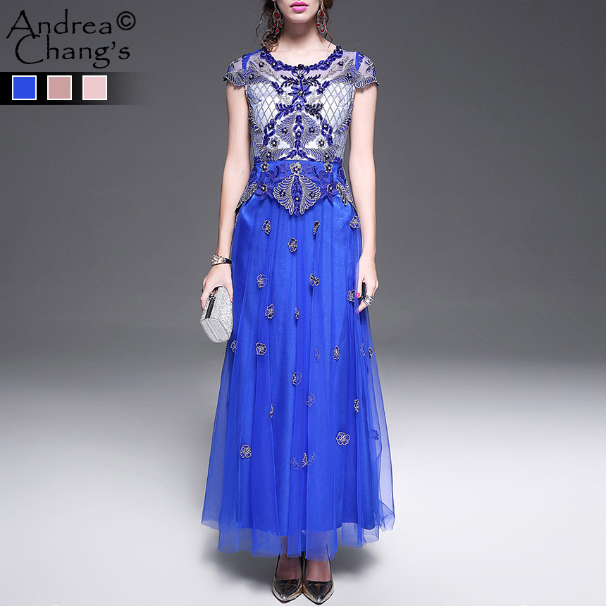 spring summer runway designer womens event dress high quality luxury blue long ball gown beaded flower embroidery party dressОдежда и ак�е��уары<br><br><br>Aliexpress