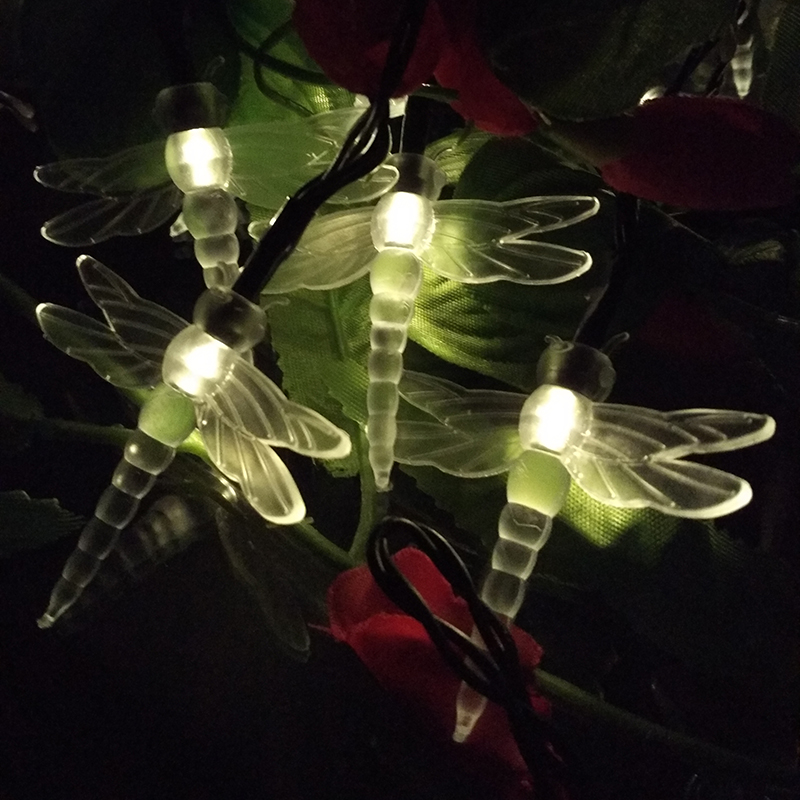 Valentine's Day Outdoor Novelty Dragonfly 10m 60leds LED Solar Lamps Bulbs Fairy String Lights Garden Path Decorative Lightings(China (Mainland))