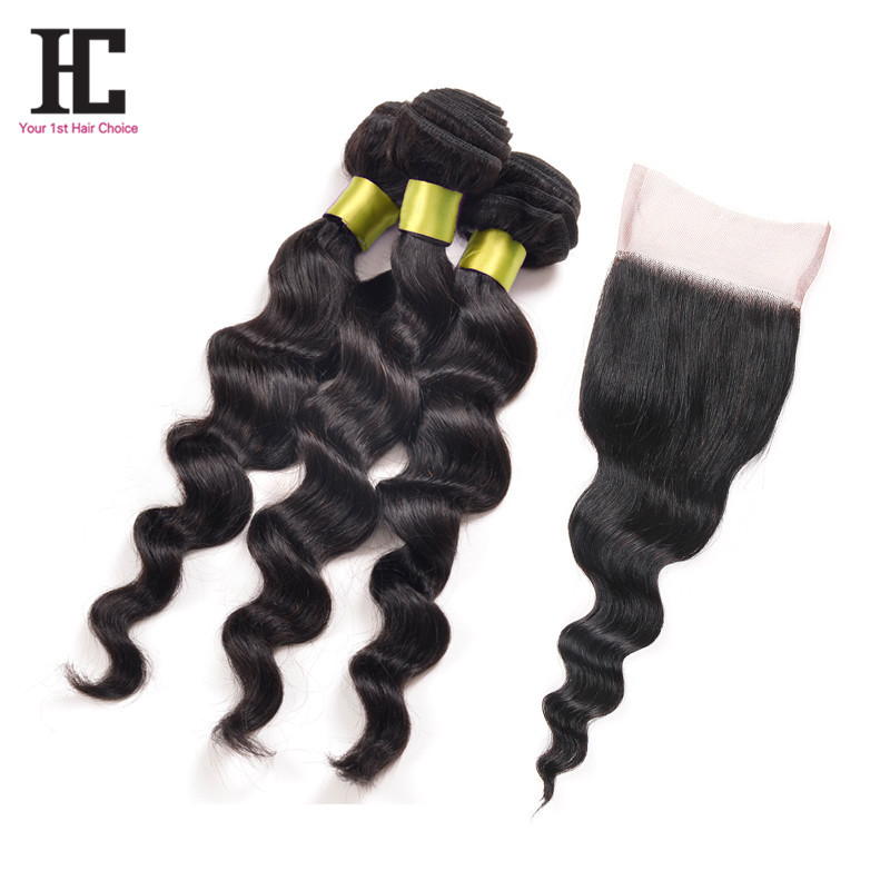 Peruvian Loose Wave With Closure 3 Bundles Grade 7A Unprocessed Virgin Hair With Closure Grace Hair Company With Closure Lace