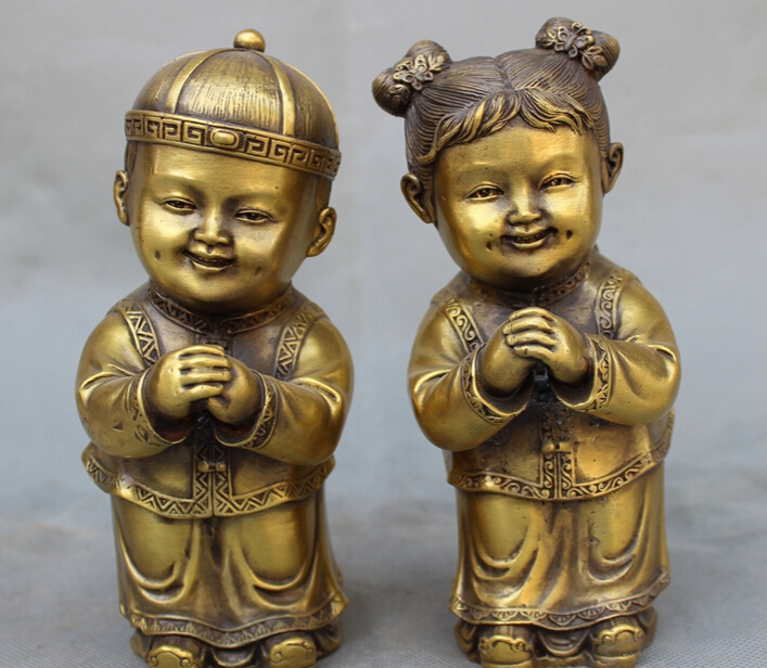 song voge gem S2554 Folk Chinese Brass Sculpture Auspicious Happy 2 Kid Child Boy Girl Statue Pair(China (Mainland))