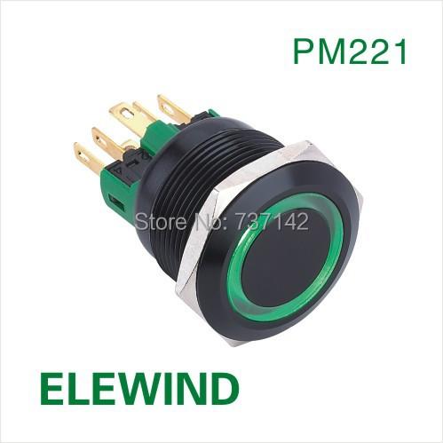 ELEWIND 22mm BLACK aluminum Ring illuminated Latching push button switch(PM221F-11ZE/G/12V/A/IP65)(China (Mainland))