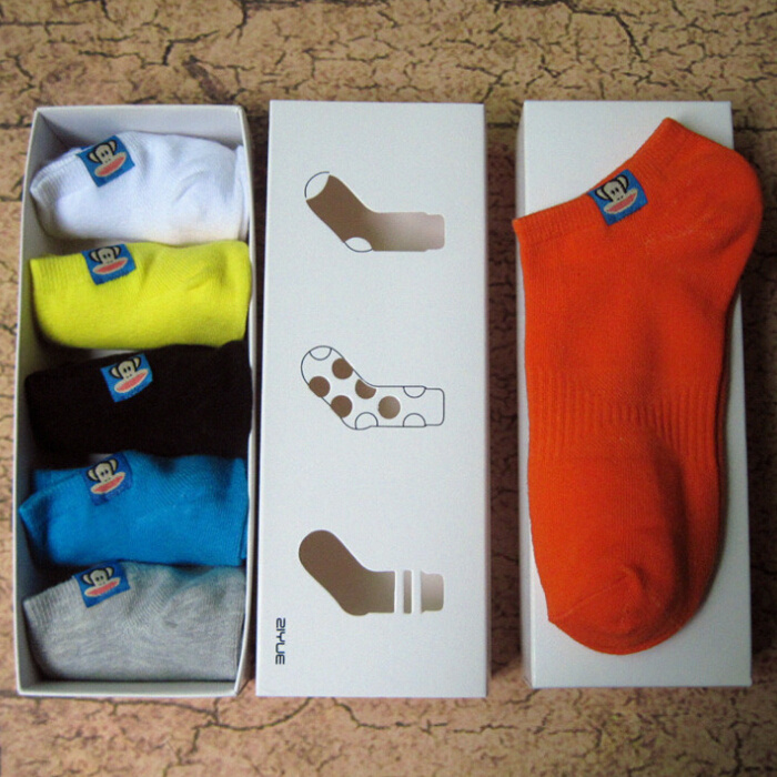 Men ankle socks for men summer lovely monkey colorful sport short cotton stance sox meias 5 pairs/lot(China (Mainland))