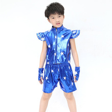 Best Selling Children Dancer Costume Faux Leather Jazz Hip Hop Clothing Personality Fashion Boys Girls Dancewear Top+Pant+Gloves