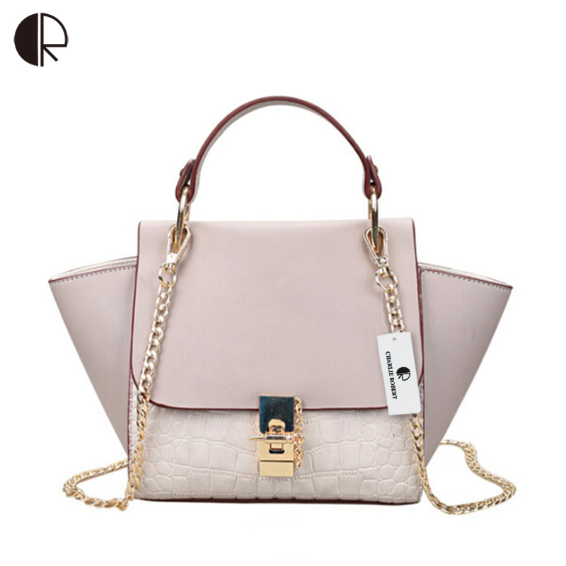 New Patchwork Women Brand Design Inspire Shoulder Bag Trapeze Big Ears Smiley Swing Tricolor Lock Chains Handbag BH500(China (Mainland))