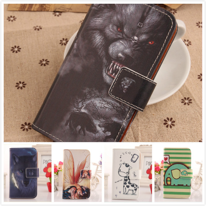 6 Colorful Printed style Smart phone pouch Skin shell Card holder Case For BlackBerry Q5 4G LTE Book Style Flip cover(China (Mainland))