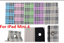 Tablet Case For iPad Mini 4 Case 360 Rotation PU Plaid Scottish tartan for Smart Cover iPad Mini 4 Flip Case with Stand Function