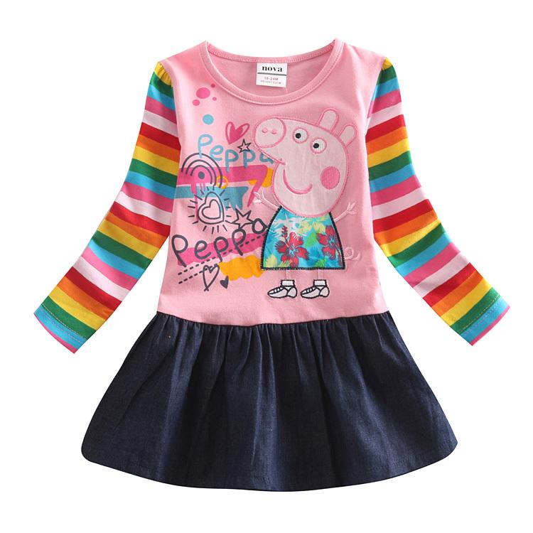 girl jeans dress children 100% cotton clothing princess cartoon pig dresses kids pig spring autumn dress girl dress<br><br>Aliexpress