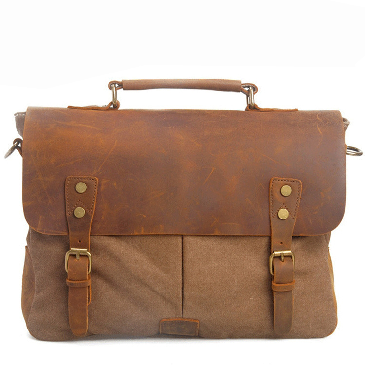 High Quality Canvas Leather Man's Handbag European Retro  Single Shoulder Bags Portable Document Messenger Bag ACC087