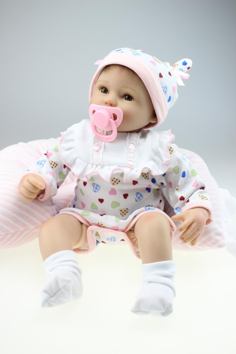 2016 Wholesale Lifelike Reborn Baby Doll Fashion Doll Birthday Present For GirlS Real Gentle Touch Rooted Hair 17inch(China (Mainland))