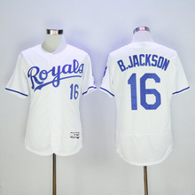 Men's 16 Bo Jackson Jerseys Blue White Alternate Flexbase Sewn Jerseys(China (Mainland))