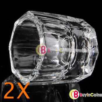2 X Glass Crystal Bowl Cup Dappen Dish Arcylic Nail Art [5710 01 02]