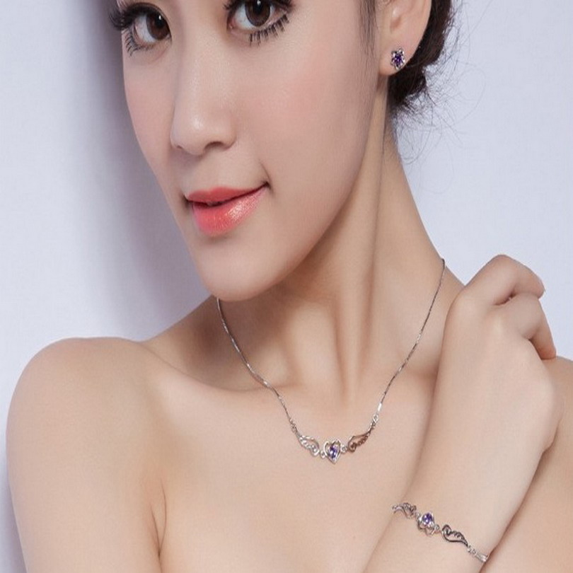 Heart Necklace Pendant love heart design Valentine's Day Gift Fashion Jewelry White Purple Zircon Angel Wing Love(China (Mainland))