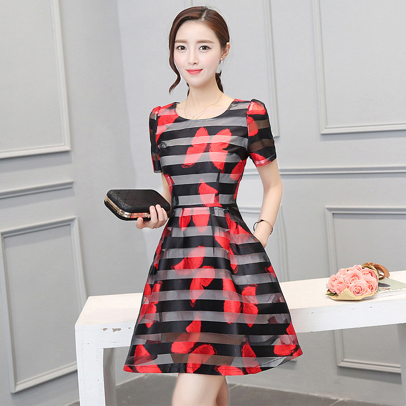 2016 New Summer Fashion Women's Clothing Ladies Puff Short Sleeved Dress Strip Butterfly Print A-line Organza Dresses Female(China (Mainland))