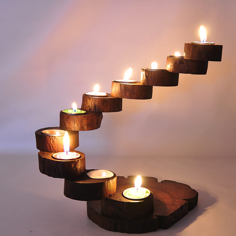 Thai wooden candlestick exclusive debut love precious teak Wood candle holders