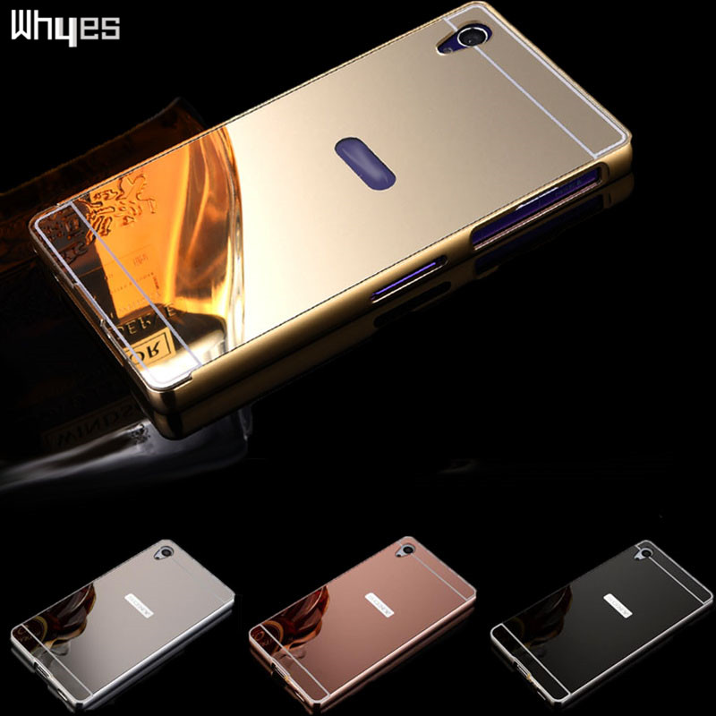 Sony Xperia Z1 L39h C6906 C6903 Luxury Aluminum Metal Frame + Acrylic Back Cover Plating Mirror Case Cover Sony Z1 Case
