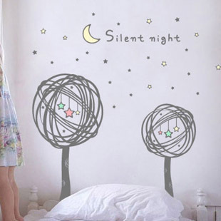 Tv background wall child flower cartoon wall stickers wall covering planet(China (Mainland))