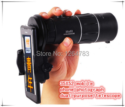 New telescope 35X52 cell phone cameras to shoot the best dual-purpose telescope viewing free shipping!(China (Mainland))
