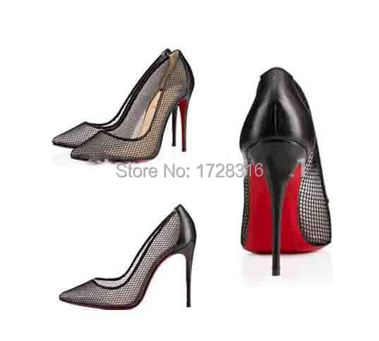 2015 New Style Mesh Red Bottom High thin Heels Pointed Toe Sexy Shoes Woman Designer Women Pumps Slip Lady pumps - Super VIP shoe store