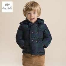 DB2943 dave bella winter infant coat baby boy padded jacket boys outerwear boys grid coat boys fashion jacket
