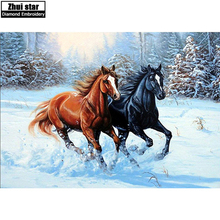 "Buy 70X50cm full square diamond 5D diy Diamond embroidery ""two horse""painting cross stitch rhinestone mosaic Needlework home decor for $20.57 in AliExpress store"