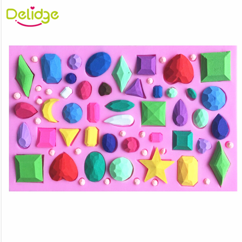 1 pc 3D Diamond Cake Mold Silicone Jewelry Precious Stone Shape Fondant Mold DIY Different Shape Diamond Cake Decoration Mold(China (Mainland))