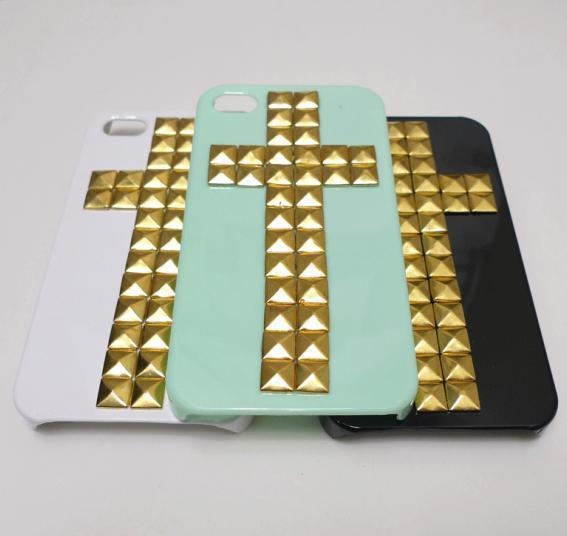Free shipping Lot 10PCS Cross Pyramid Stud handmade Black White Green Rivet Case Cover For iPhone 4 4S studded case