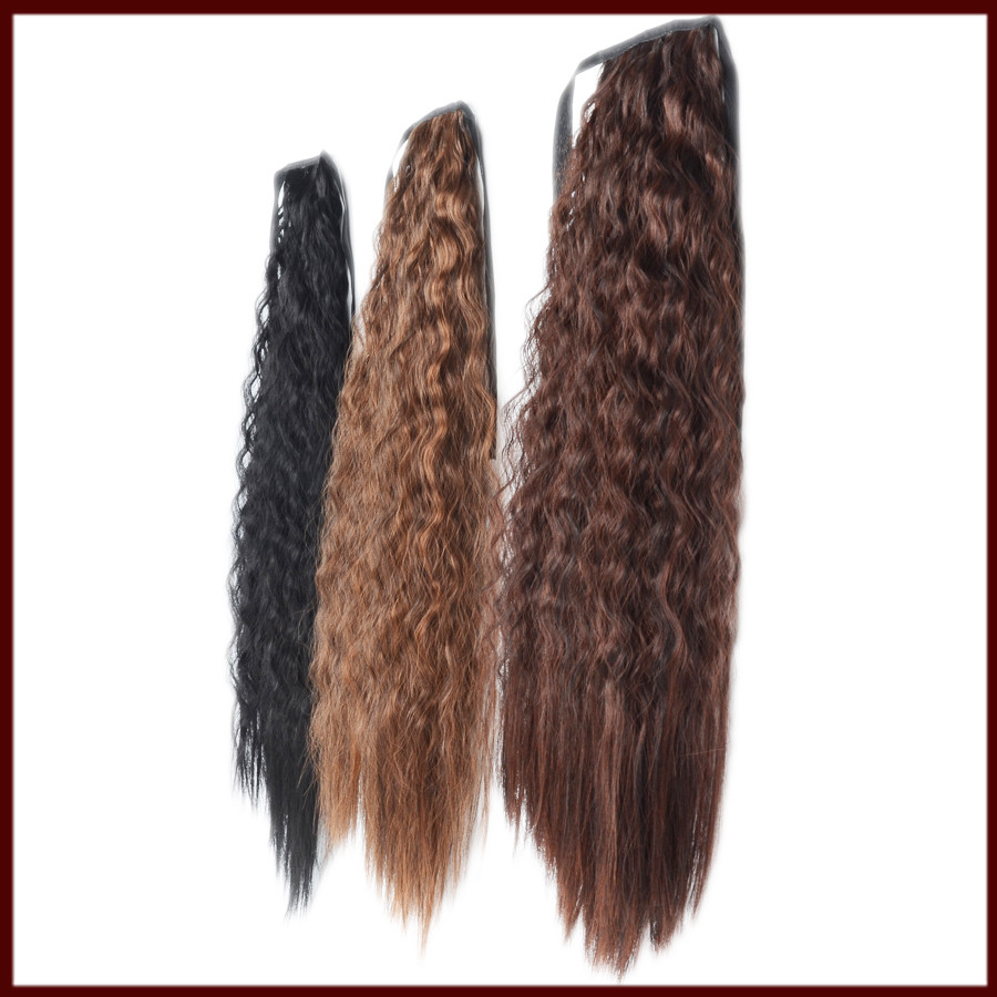 New arrival Yaki curly 100% Kanekalon Heat Resistant Fiber Ponytail Hair pieces Synthetic Ponytail Clip in Hair Extension(China (Mainland))