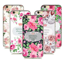 Beautiful Floral Flower Girls Phone Case Soft Silicone Back Cover For iPhone 5S 6 6S luxury Design Gift Case