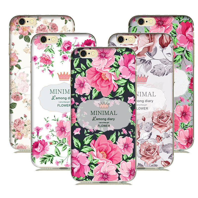 Beautiful Floral Flower Girls Phone Case Soft Silicone Back Cover For iPhone 5S 6 6S luxury Design Gift Case(China (Mainland))