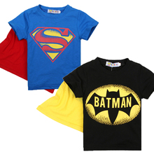 Summer Style Cotton Batman Superman Boys T Shirts Kids Clothing Tee Boys Outwear Child's Clothes Cool Fashion Cloak Top Tee