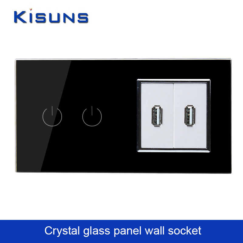 Luxury Black Touch Screen Control Tempered crystal Glass Panel Wall Light Home touch Switch Wall USB Socket kisuns A292182USB(China (Mainland))