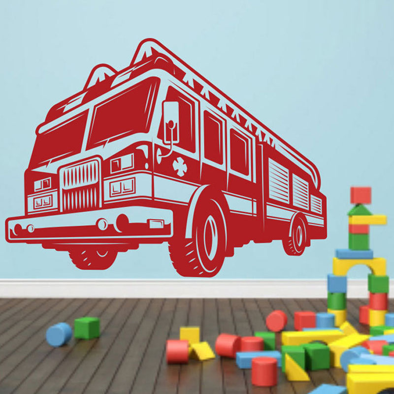 Nursery Decoration Cartoon Fire Truck Wall Stickers PVC Adhesive Wall Decals Home Sticker Decor(China (Mainland))