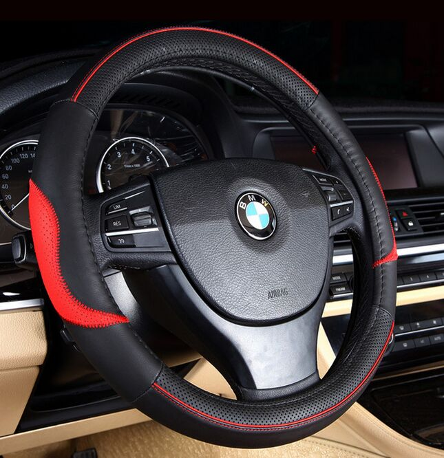 HOT SALE Car Leather Steering Wheel Covers Fit 95% Car Styling for kia/vw/ford/toyota/nissan etc.,size 38cm Cheap&High Quality(China (Mainland))