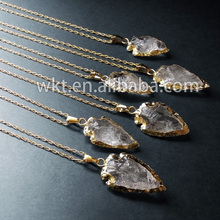 New!! Sideways raw crystal quartz arrowhead necklace with 24k Gold Electroplated(China (Mainland))