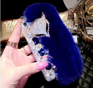 2014 Fox head rabbit hair fur Luxury crystal Diamond hard back cell phone case cover For Apple iphone 6 iphone 6 plus 5.5inch(China (Mainland))
