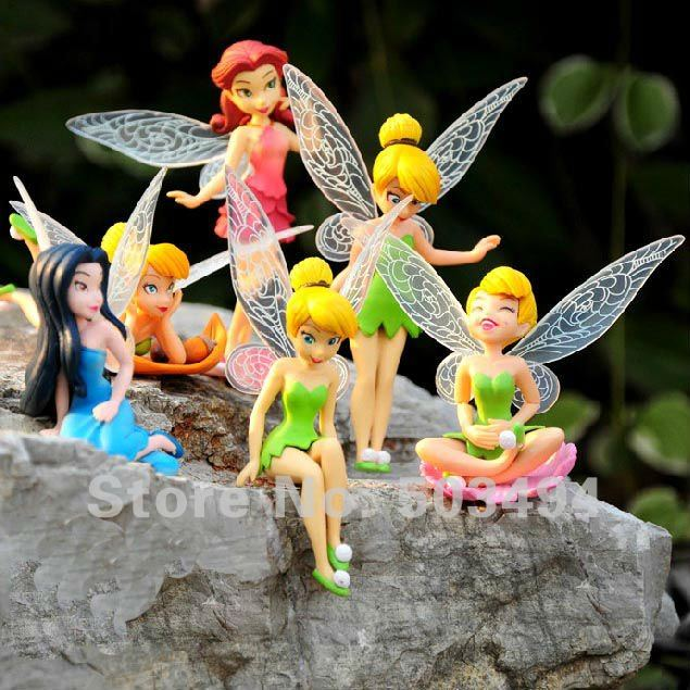 Free shipping High Quality PVC Tinkerbell Fairy Adorable collection Figures Toy NEW ( 6 pcs/set )