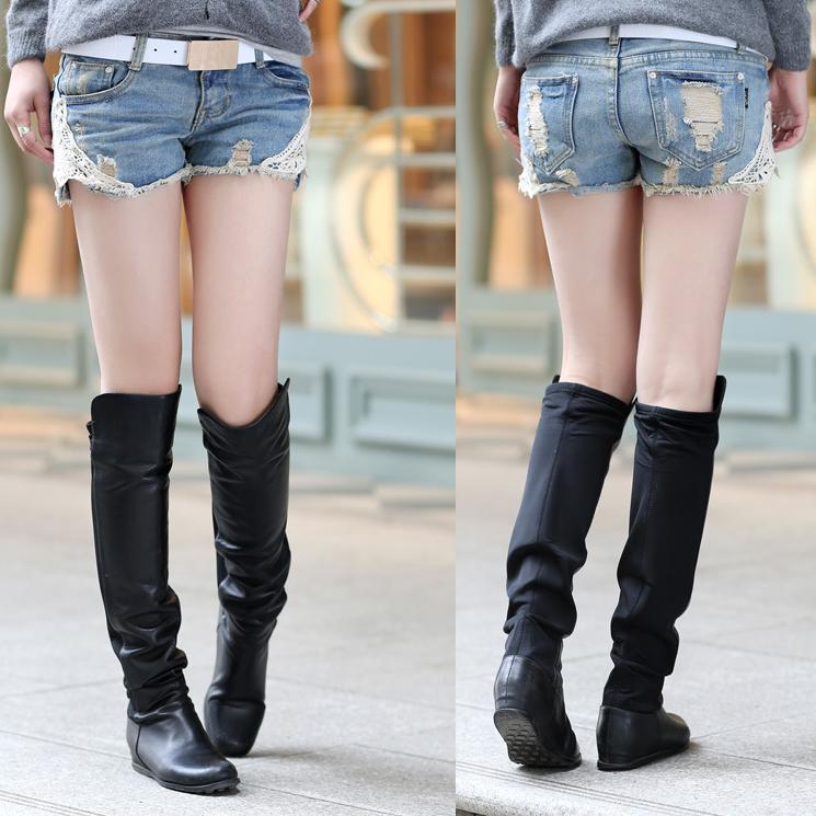 Women Lace Trim Crochet Denim Booty Shorts Plus Size Female Thin Loose Torn Vintage Short Jeans Hot Short Pants Summer 2015(China (Mainland))