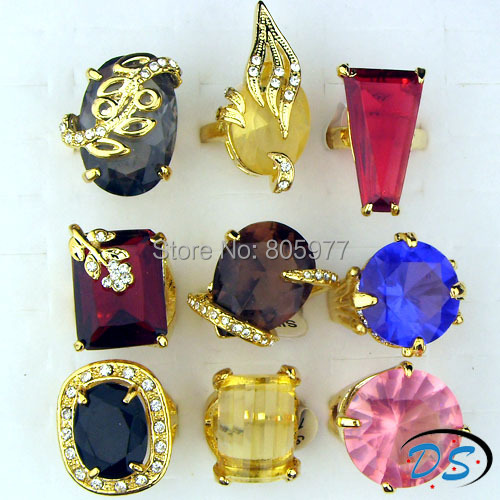 Gorgeous Jewelry Wholesale Lots Mix Style Cubic Zircon Rhinestones Gold Plated Women Rings<br>