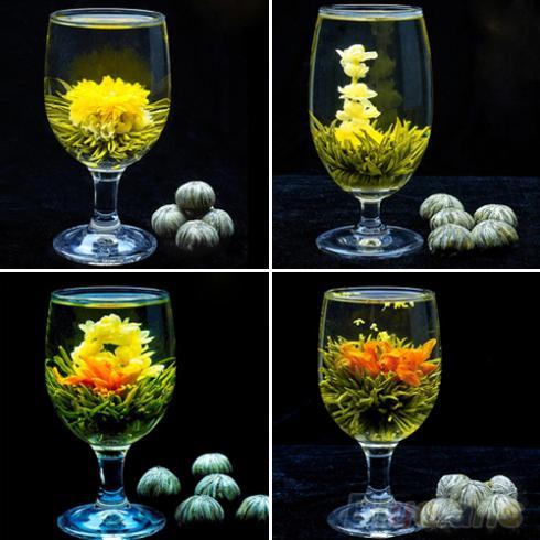 4 Balls Different Handmade Blooming Flower Green Tea Home Wedding Gift 1ON6 1ORU 4AYA