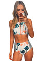 Retro Beach Swimsuit Bathing Suit Swimsuit Low Waist Bikini Swimwear Palm Tree Printed Stripe Tankini Crop