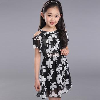 Big Girl Dresses Summer 2016 New Children's Clothing Kids Flower Dress Chiffon Princess Dresses Girls Kids 10 11 12 13  Years
