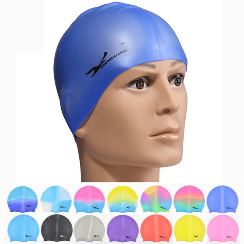 New Women Men Waterproof Flexible Silicone Gel Ear Long Hair Protection Swim Pool Swimming Cap Hat Cover for Adult Children Kids(China (Mainland))