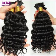 7A deep curly human hair bulk for braiding no attachment 3pcs lot XM bulk hair for braiding deep wave brazilian virgin hair(China (Mainland))