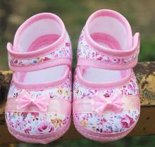 Fashion lovery regali del bambino scarpe bambino primi camminatori rosa fiore bowknot baby shoes ragazze molle(China (Mainland))
