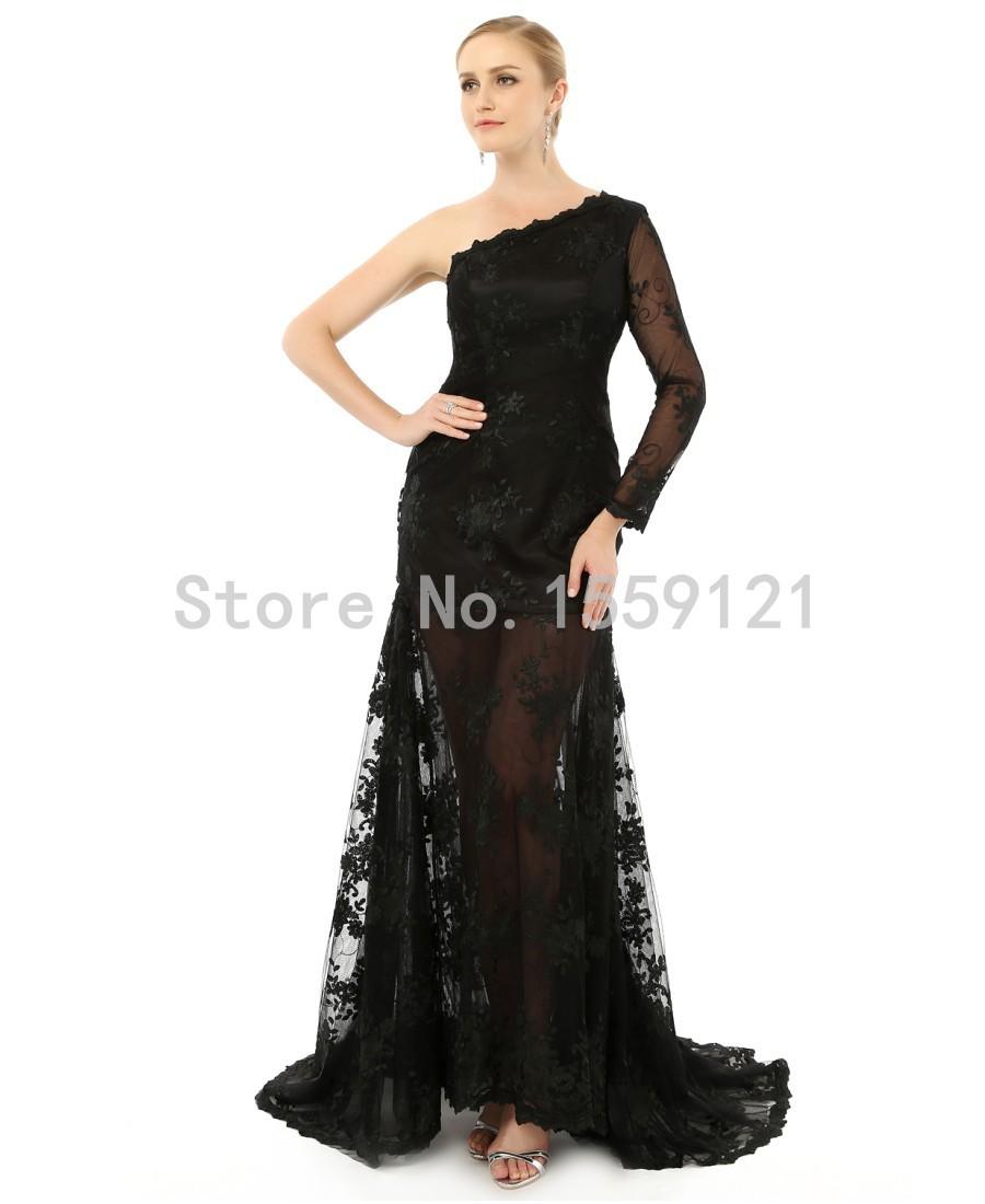 Sexy black bridesmaid dresses 2015 one shoulder long for One shoulder long sleeve wedding dress