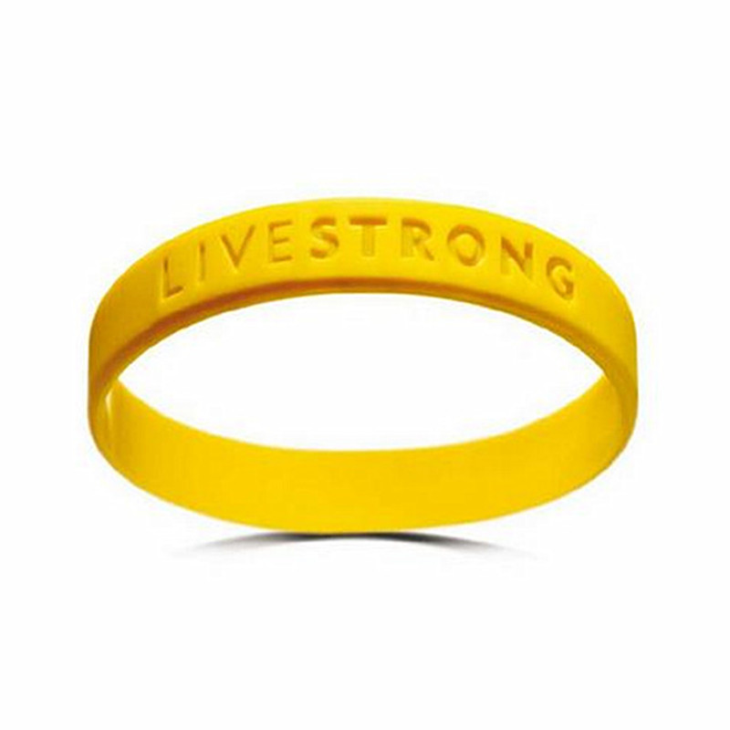 Free Shipping 10pcs Motivational Bracelets Concave Text LIVE STRONG Wristband Adults Teenagers Yellow Eco-friendly Silicone Gift(China (Mainland))