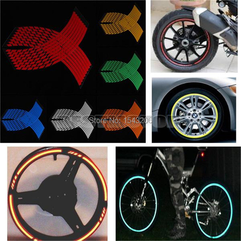 16 Strips Wheel Sticker Reflective Rim Stripe Tape Bike Motorcycle Car 16 17 18inch(China (Mainland))