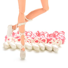 10 Pairs Ballet Shoes Bind-type Toe Shoes for Barbie Doll Mixed Colors Fashion Dolls Parts Accessories(China (Mainland))