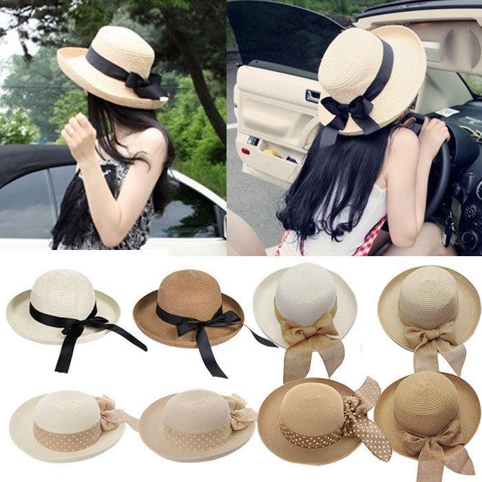 Hot New Fashion Summer Casual Women Ladies Wide Brim Beach Sun Hat Elegant Straw Floppy Bohemia Cap For Women Dating Cheap Z1(China (Mainland))
